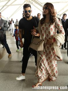 Virushka wedding reception: Virat and Anushka reach Mumbai for another gala night. Anushka Sharma Virat Kohli, Virat And Anushka, Bollywood Couples, Bollywood Fashion, Indian Attire, Indian Wear, Indian Dresses, Indian Outfits, Eid Outfits