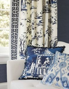 Blue and white fabrics - Scalamandre Fall 2015 collection Blue Rooms, White Rooms, Fall Collection, Asian Home Decor, Chinoiserie Chic, Curtains With Blinds, Drapery Panels, White Houses, White Decor