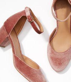 eb43b4603b25 Velvet Block Heels Mid Heel Shoes