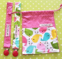 Pink Happy Birdies Baby Girl Pacifier Clip and by sewmuch2luv, $15.00