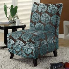Gabrielle Floral Slipper Chair - Brown / Turquoise - Accent Chairs at Hayneedle