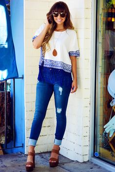 Ark & Co: Out In The Ocean Top: White/Royal Blue #shophopes #arknco