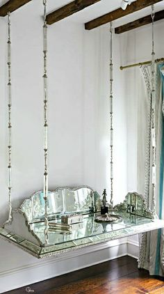 French Flair ● Floating Mirrored Vanity Table