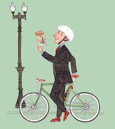 'City Explorer' illustration for the April issue of Esquire China #menswear #mensfashion #fashionillustration #bicycle #esquiremagazine #tokyobike #slowboy