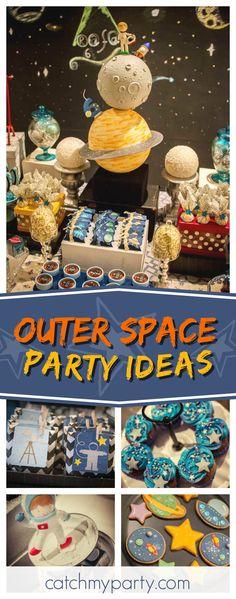 Check out this awesome outer space birthday party! The cookies are so cute!! See more party ideas and share yours at CatchMyParty.com #outerspace   #boybirthday