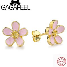 d2a94ffcb GAGAFEEL Romantic 925 Sterling Silver Cherry Blossom Stud Earrings Pink  White Flower Enamel Earrings for Women Jewelry-in Stud Earrings from Jewelry  ...