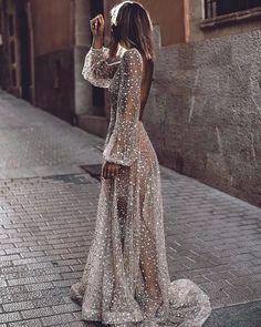 White Sequin Glitter Backless V-neck Long Sleeve Elegant Banquet Wedding Gowns Maxi Dress Evening Dresses, Prom Dresses, Formal Dresses, Pinterest Fashion, Dream Dress, Pretty Dresses, Most Beautiful Dresses, Dress To Impress, Wedding Gowns