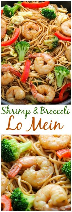 Shrimp and Broccoli Lo Mein - healthy, hearty, and very delicious! This recipe is so much better than take-out! lo mein recipe chinese food soy sauce Shrimp and Broccoli Lo Mein - Baker by Nature Shrimp Dishes, Pasta Dishes, Asian Recipes, Healthy Recipes, Ethnic Recipes, Healthy Lo Mein Recipe, Shrimp Lo Mein Recipe Easy, Lunch Recipes, Side Dishes