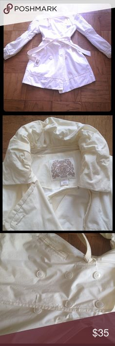 ✨will donate 3/31 esprit cream peacoat raincoat Gorgeous cream colored raincoat that is fully lined and has great little details. Has belt (only part that has minor discoloration please see photo) but can probably be cleaned off. Puffy neckline and buttons on the body and cuffs. Belt will cinch you in and give you that hourglass shape. Light but not paper thin, perfect for spring! Like Nasty gal, vintage, pin up retro kawaii Esprit Jackets & Coats Pea Coats