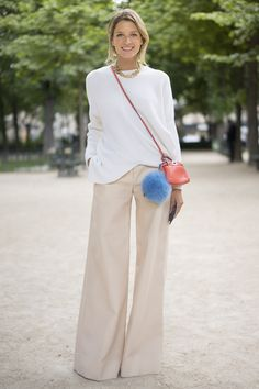 Again, white and beige worn loose and casual...with colorful accessories