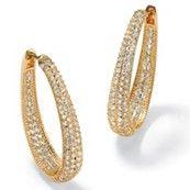 8.10 TCW Cubic Zirconia 14k Yellow Gold-Plated Oval-Shape Inside-Out Huggie Hoop Earrings