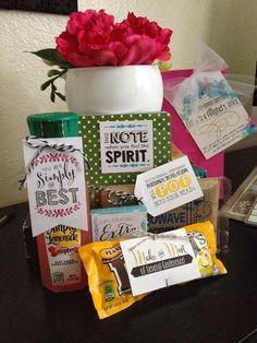 Super cute General Conference goodie bag! Free Printable tags!!  Take to visiting teaching sisters.  www.bartonavenue.blogspot.com