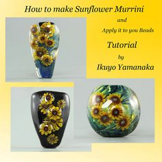 Lampwork Tutorial: How to make sunflower murrini and apply it to your beads by Ikuyo Yamanaka on Etsy, $16.00