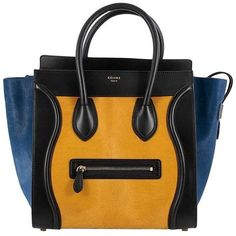 Preowned Celine Tricolor Luggage Handbag Pony Hair And Leather Mini ($2,290) ❤ liked on Polyvore featuring bags, handbags, tote bags, black, totes, zippered leather tote, zip tote, leather hand bags, purse tote and leather totes