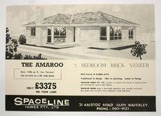 """Post War Austere Triple Front Brick Veneer- Early 1960s black and white brochure advertising the """"Amaroo"""" brick veneer house by Spaceline"""