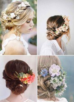 Blumenkranz im offenen Haar. Hochzeitsfrisur mit Blumen. www.brautraub.de
