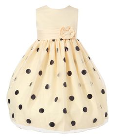Another great find on #zulily! Cream & Black Polka Dot Tulle Dress - Toddler & Girls #zulilyfinds