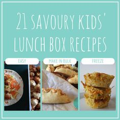 21 savoury kids' lunch box recipes - easy to make, many you can make in bulk and freeze to help you keep organised and on top of the lunches Lunch Box Recipes, Baby Food Recipes, Cooking Recipes, Lunch Ideas, Meal Ideas, Lunch Box Bento, Lunch Snacks, Kid Snacks, Bellini Recipe