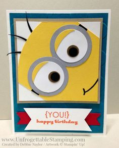 Unfrogettable Stamping | Fabulous Friday Minion punch art kid's birthday card featuring many punches by Stampin' Up!