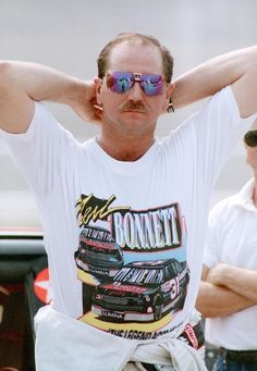 Dale Earnhardt supports his friend Neil Bonnett at Talladega in 1993, the site of Neil's return to Cup Series action.