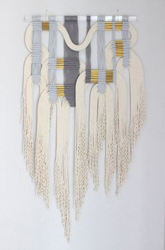 Macrame Wall Hanging gry wht 2 by HIMO ART One