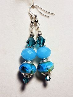 Sea Blue Murano and Frosted Beaded Earrings with Crystals