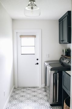 Laundry Room Update: Painted Stenciled Floors - Within the Grove. Creamy villa on walls. Extra white on trim and outer space on cabinets. All Sherwin Williams paint Laundry Room Tile, Rustic Laundry Rooms, Room Tiles, Laundy Room, Baseboard Trim, Space Painting, Stenciled Floor, Custom Stencils, Floor Colors
