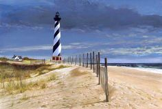 lighthouse patterns to print | Cape Hatteras Lighthouse painting by artist/author Roger Bansemer used ...