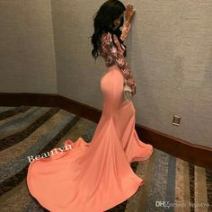 Sexy Sheer Lace Back Mermaid Prom Dress 2017 South Africa Long Sleeves Scoop Ruffles Skirt Custom Made Evening Dresses Gown For Black Girls Cute Short Prom Dresses, Black Girl Prom Dresses, Petite Prom Dress, Prom Dresses Long With Sleeves, Mermaid Prom Dresses Lace, Mermaid Evening Gown, Prom Outfits, Prom Dresses 2017, Prom Dresses Online