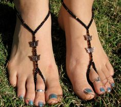 Black and Bronze Butterfly Barefoot Sandals, Slave Anklet, foot jewelry, ankle bracelet with toe ring. $12.00, via Etsy.