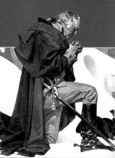 General George Washington seeking  God's help in prayer