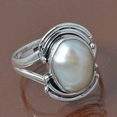 PEARL 925 STERLING SILVER RING JEWELRY 4.59g DJR7018 SIZE 6 #Handmade #Ring