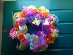 Spring deco mesh wreath ;)