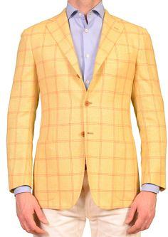 KITON Napoli Napoli Yellow Silk-Cashmere-Linen Jacket US 36 38 NEW EU 48 R9