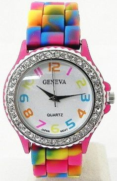 BIG ROUND FACE (38MM CASE SIZE), WITH CRYSTAL, RAINBOW COLOR BAND.  2012 Holiday Sepcial Edition $4.91