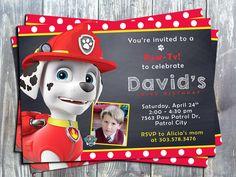Paw Patrol Marshal Birthday Party Printable Invitation-paw patrol marshal…