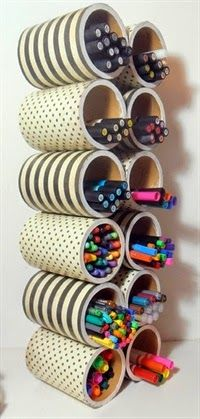 with Megan: Storage solutions! Marker Storage created with cans that are perfect for horizontal storage solutions.Marker Storage created with cans that are perfect for horizontal storage solutions. Craft Room Storage, Craft Organization, Craft Rooms, Organizing Ideas, Bedroom Organization, Office Storage, Marker Storage, Diy And Crafts, Arts And Crafts