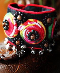 Wide Cotton Bracelet with Beads and Bells