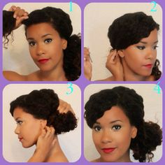 1. Part a medium-sized section for your bang and tie the remainder of your hair into a low, side ponytail.  2. Swoop your bang, and secure it with a bobby pin.  3. Use a hair tie to wrap your ponytail into a bun