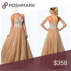 a50b8586ef9b TERANI PROM DRESS Beautiful Strapless tulle ball gown with fully  embellished bodice, basque waistline, and full tulle skirt Terani Couture  Dresses Strapless