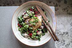 Bakad rotselleri med svamp, grönkål och lingon