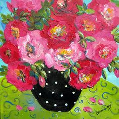 Rosy Roses Still life painting gift for her original art  wall decor 20 x 20…