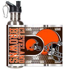 Cleveland Browns 26oz Stainless Steel Water Bottle w/ Metallic Wrap