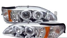 Ford Mustang Osram LED Dual Halo DRL Daytimg Running Lights Front Projector Headlights Headlamps Replacements Both Driver Passenger Sides Left Right Pair Set w/ Low Beam 9005 High Beam Bulbs 1995 1996 1997 94 95 96 97 98 Chrome Projector Headlights, Car Headlights, Led Projector, S550 Mustang, Ford Mustang Gt, Led Tail Lights, Car Lights, Mustang Accessories, Aftermarket Headlights