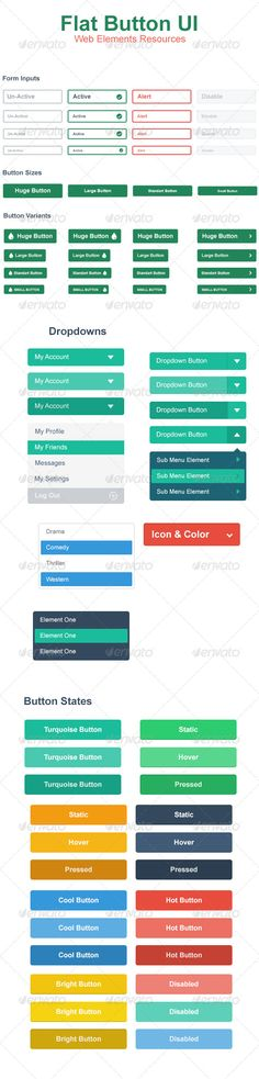 Flat Web Button UI  Flat Web Button Professional User Interface with many editable and resizable elements. All layers are grouped and well organized.