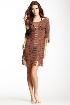 "Letarte 3/4 Length Sleeve Crochet Dress by Non Specific  - Wide scoop neck - 3/4 length sleeves - Crochet knit construction - Knotted fringe trim throughout - Approx. 36"" length - Imported Additional Information Fit: this style fits true to size. Care Info Hand wash Fiber Content 100% cotton $382 This would be cute with cowboy boots."