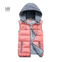 women's cotton wool collar hooded down vest Removable hat Hot high quality Brand New female winter warm Jacket&Outerwear Thicken - - Source by official_mdlily Winter Vest, Cotton Vest, Vest Coat, Hooded Vest, Puffer Vest, Sleeveless Jacket, Down Vest, Winter Jackets Women, Outerwear Jackets