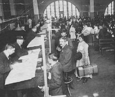 Thousands of people were processed daily by immigration officials.
