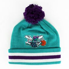 fc27455e43d New NBA Charlotte Hornets Beanie Mitchell   Ness Knit Cuff Hat Beanie With  Pom