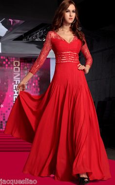 Red V Neck Lace Long Sleeve Bead Floor Evening Formal Prom Wedding Dress